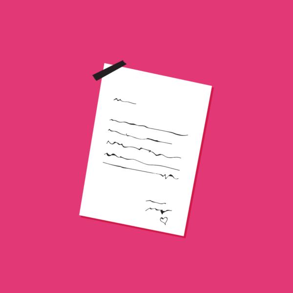 Illustration of a letter on pink background