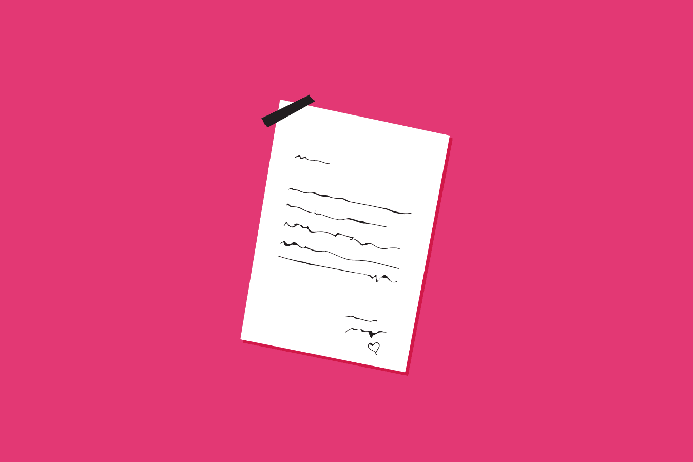 Illustration of a letter on pink background
