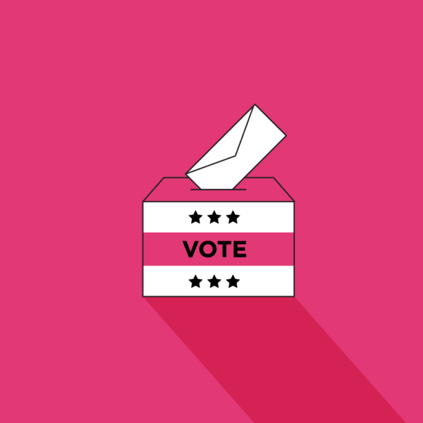 box that says vote with envelope going into it on a pink background